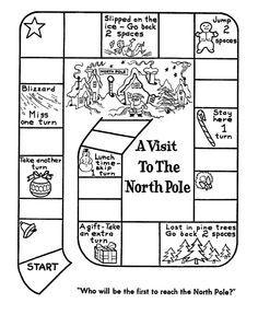 Race To The North Pole Board Game Printable Christmas Games