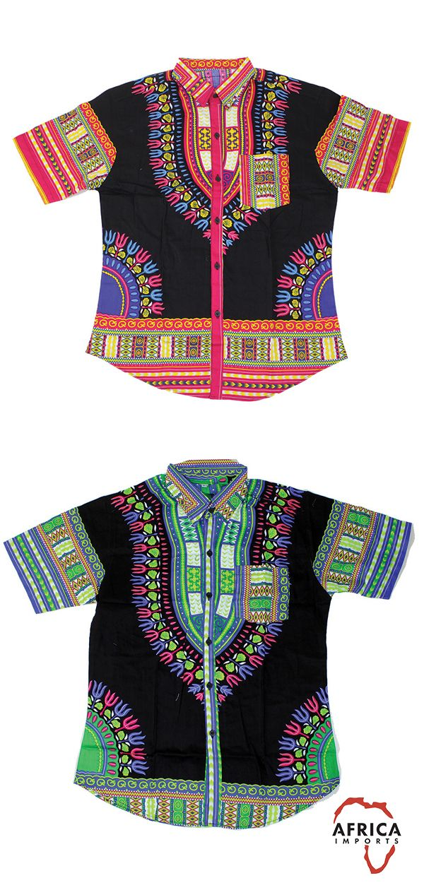 Traditional African Mens Shirt in Green, Red, Yellow, Pink, and Purple - Celebrate African history with this traditional African mens shirt.  Perfect as a dressy casual shirt for date night or going out with the guys.  Celebrate Black History Month with this beautifully patterned African shirt.  #africa #mensfashion #Fashion #wearableart #pattern #manly #fashionableman #dressycasual #blackhistorymonth