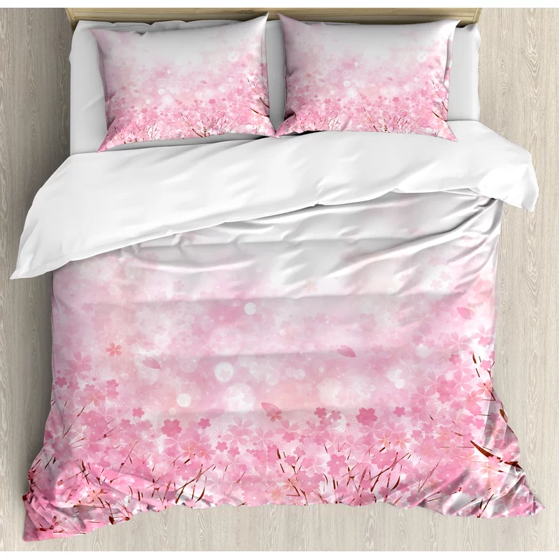 Japanese Cherry Blossom Sakura Tree With Romantic Influence Asian Nature Theme Duvet Cover Set In 2021 Pink Duvet Cover Pink Duvet Duvet Cover Sets