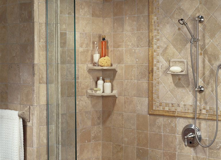 Photo Features Resin Travertine Tub Soap Dish, Corner Caddies And Towel Bar  Bracket With Tumbled Stone Azteca 6 X 6 Field Tile And 2 X 21 Chair Rail;  ...