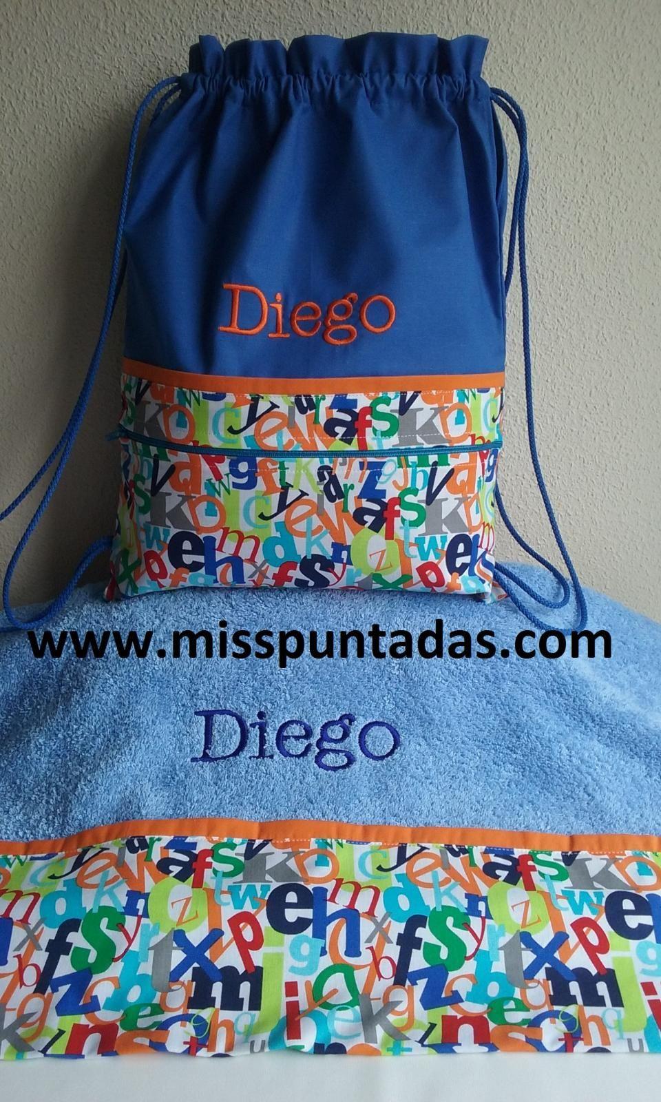 Toalla ducha y bolsa Letras. www.misspuntadas.com