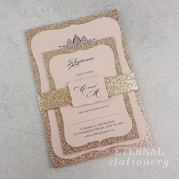 Gold and blush glitter wedding invitation created by eternal gold and blush glitter wedding invitation created by eternal stationery eternalstationery junglespirit Gallery
