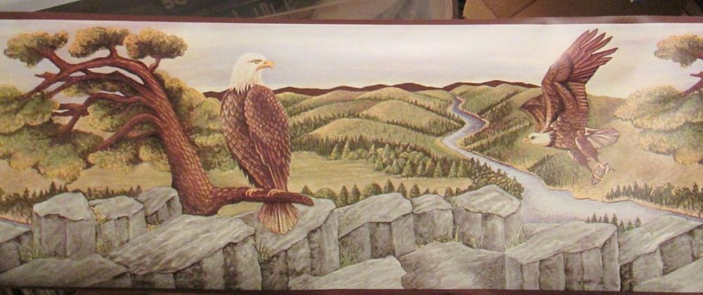 Eagles in Flight Wallpaper Border Flying over Mountains