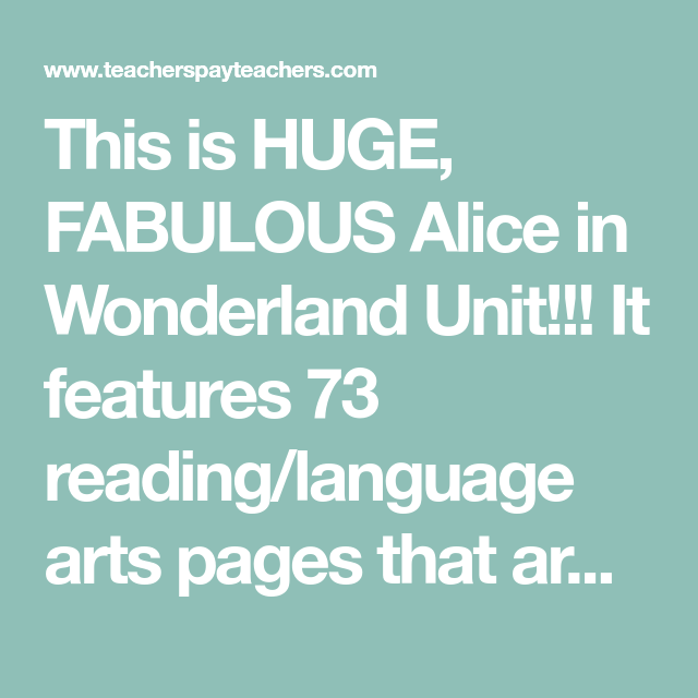 Alice in Wonderland Math and Literacy Centers First Grade | Math ...