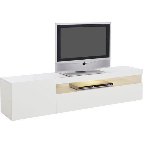 Meuble Bas Tv Largeur 150 Cm Blanc Brillant Vue 2 Meuble Bas