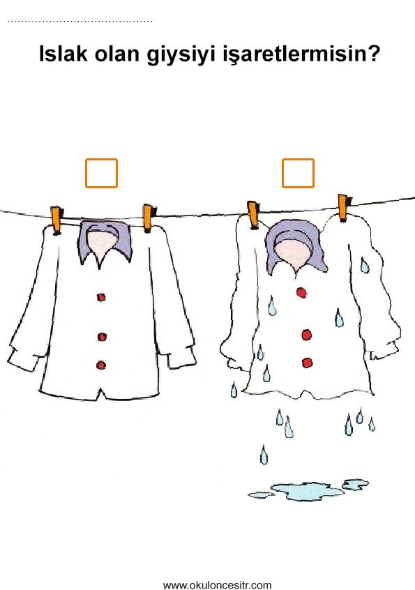 Islak Kuru Kavramı Okul öncesi Kavramlar Dikkat Vs çalışmaları