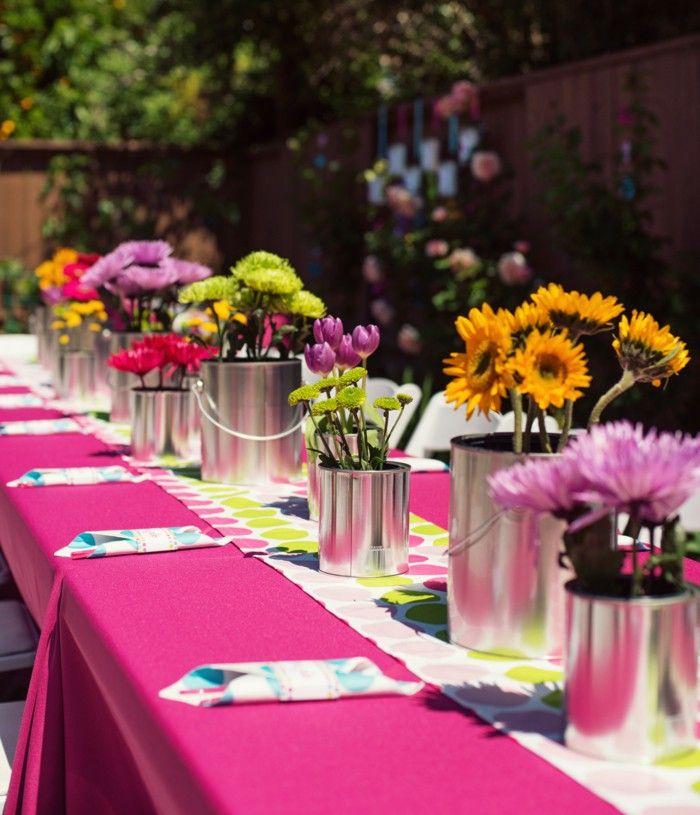 Garden party table decoration decorations ideas flowers | Blumen ...
