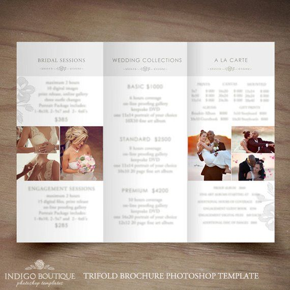 wedding photography trifold brochure template client welcome guide