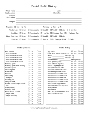 for new patients at a dental clinic this printable history form