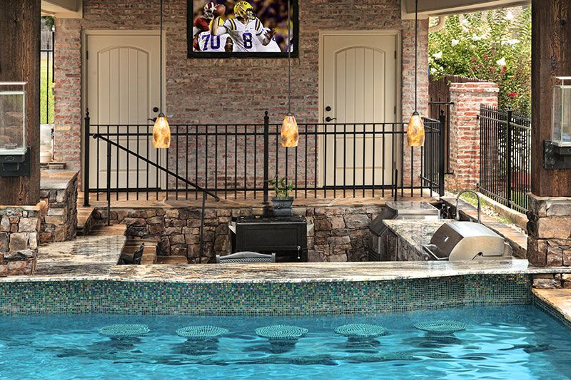 Made to entertain, this beautifully designed swim-up bar ...