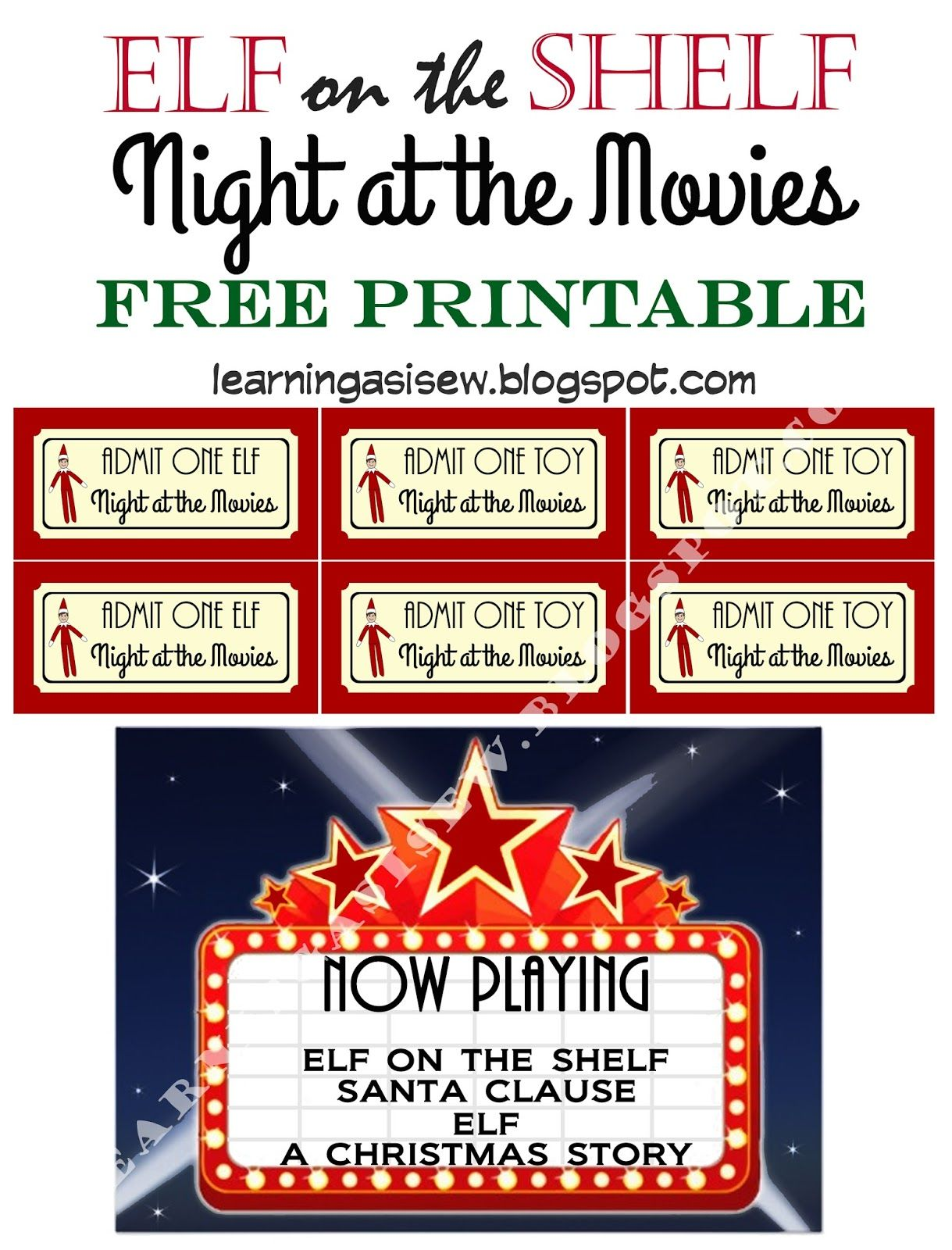 Elf on the Shelf FREE Printable - Night at the movies, printable ...