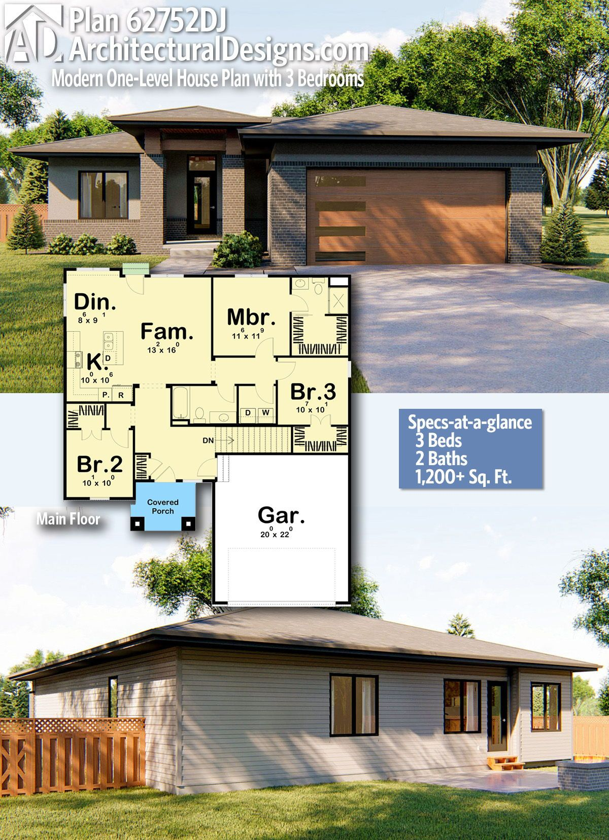 Plan 62752dj Modern One Level House Plan With 3 Bedrooms One Level House Plans House Plans Modern House Plans