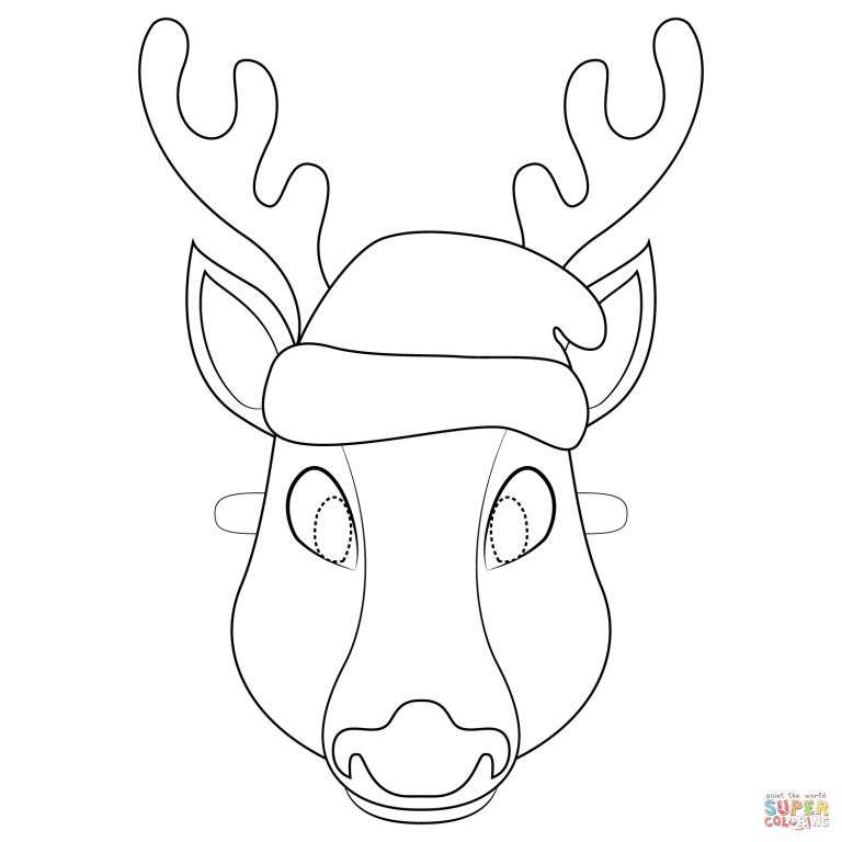 Free Printable Coloring Intended For Reindeer Mask Template Free Printable Coloring Animal Mask Templates Printable Coloring
