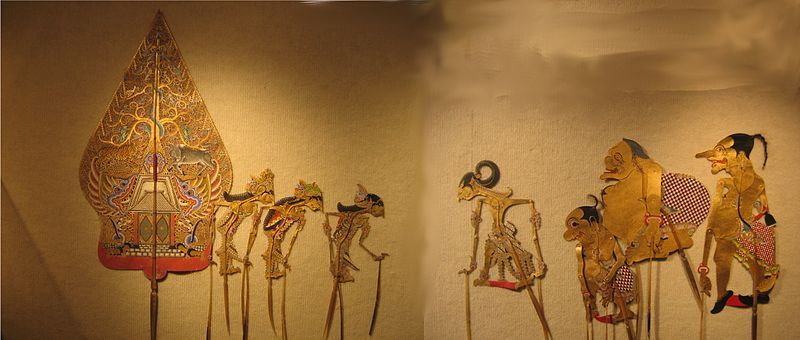 Wayang (shadow puppets) from central Java, a scene from 'Irawan's Wedding'