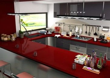 Cen Ruby Red Quartz Countertops Contemporary Kitchen
