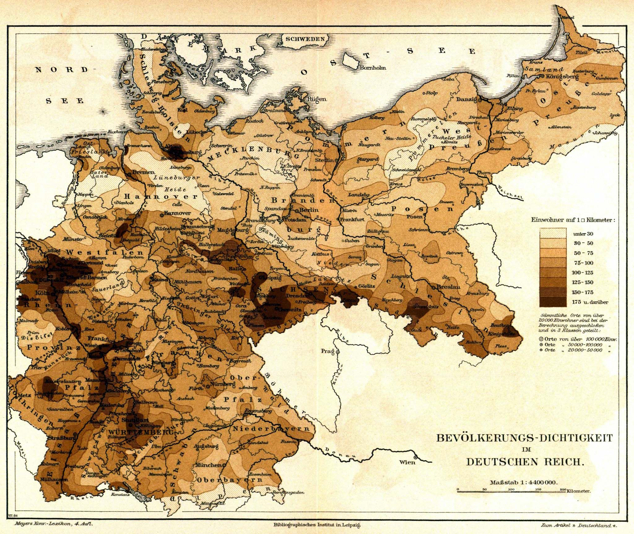 Population Density Of Germany 1885 Map Germany Deutschland