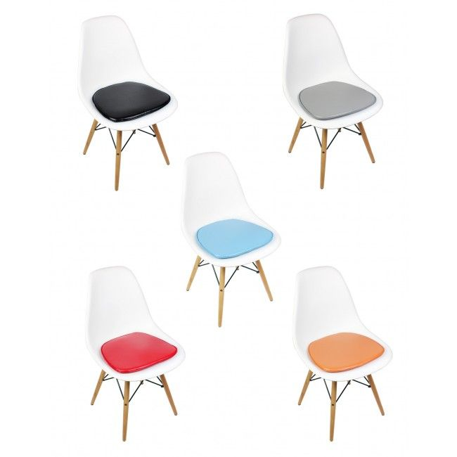 eames style plastic chair cheap clear acrylic chairs dsw molded white dining shell with cushion
