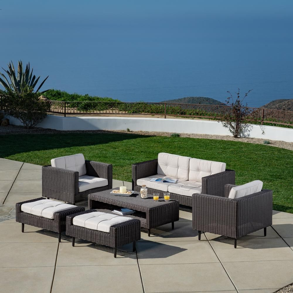 Ae Outdoor Tampa 6 Piece All Weather Wicker Patio Conversation