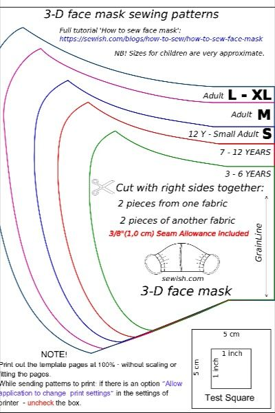 Photo of Free pattern for 3D face mask