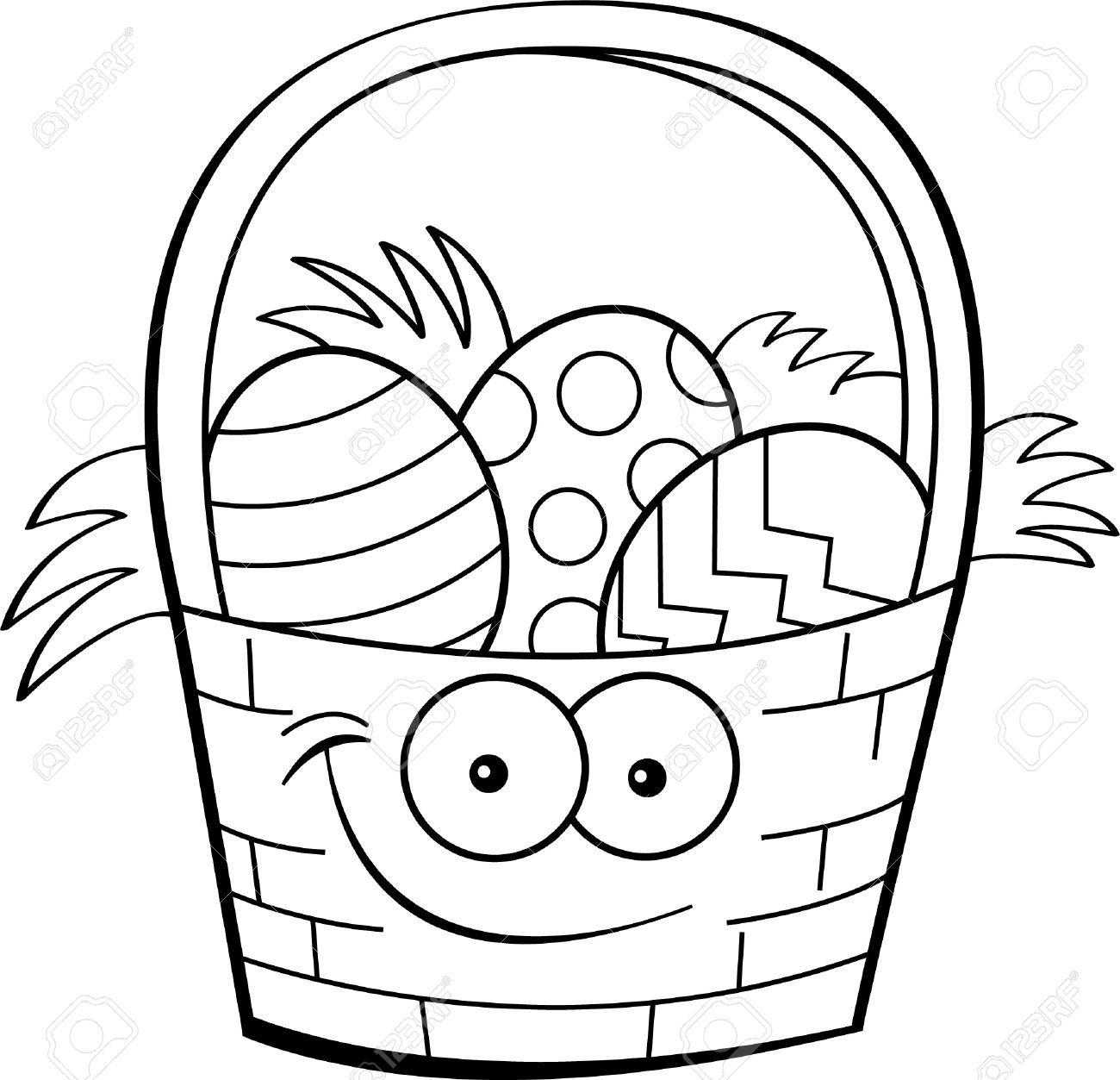 Ilustración blanco Y negro de una canasta de pascua llena de huevos ...