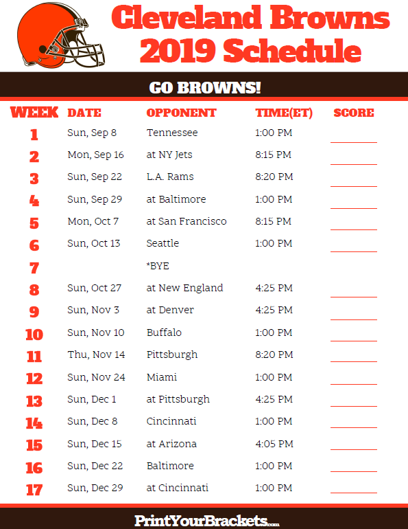 graphic regarding Printable Nfl Schedules identify Printable Cleveland Browns Agenda - 2019 Year