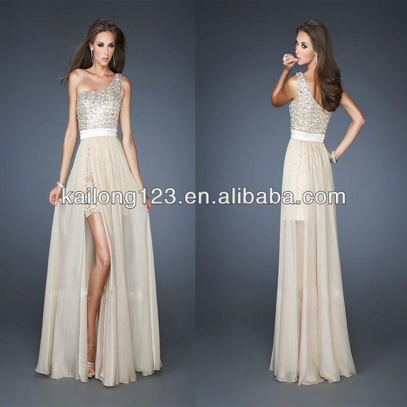 Pretty One Shoulder Short Sequin Slit Chiffon Overlay Long Skirt ...