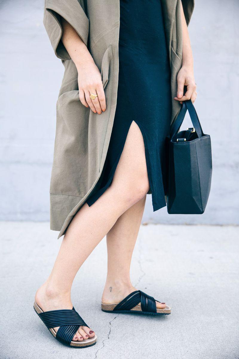 Midi dress + leather slides