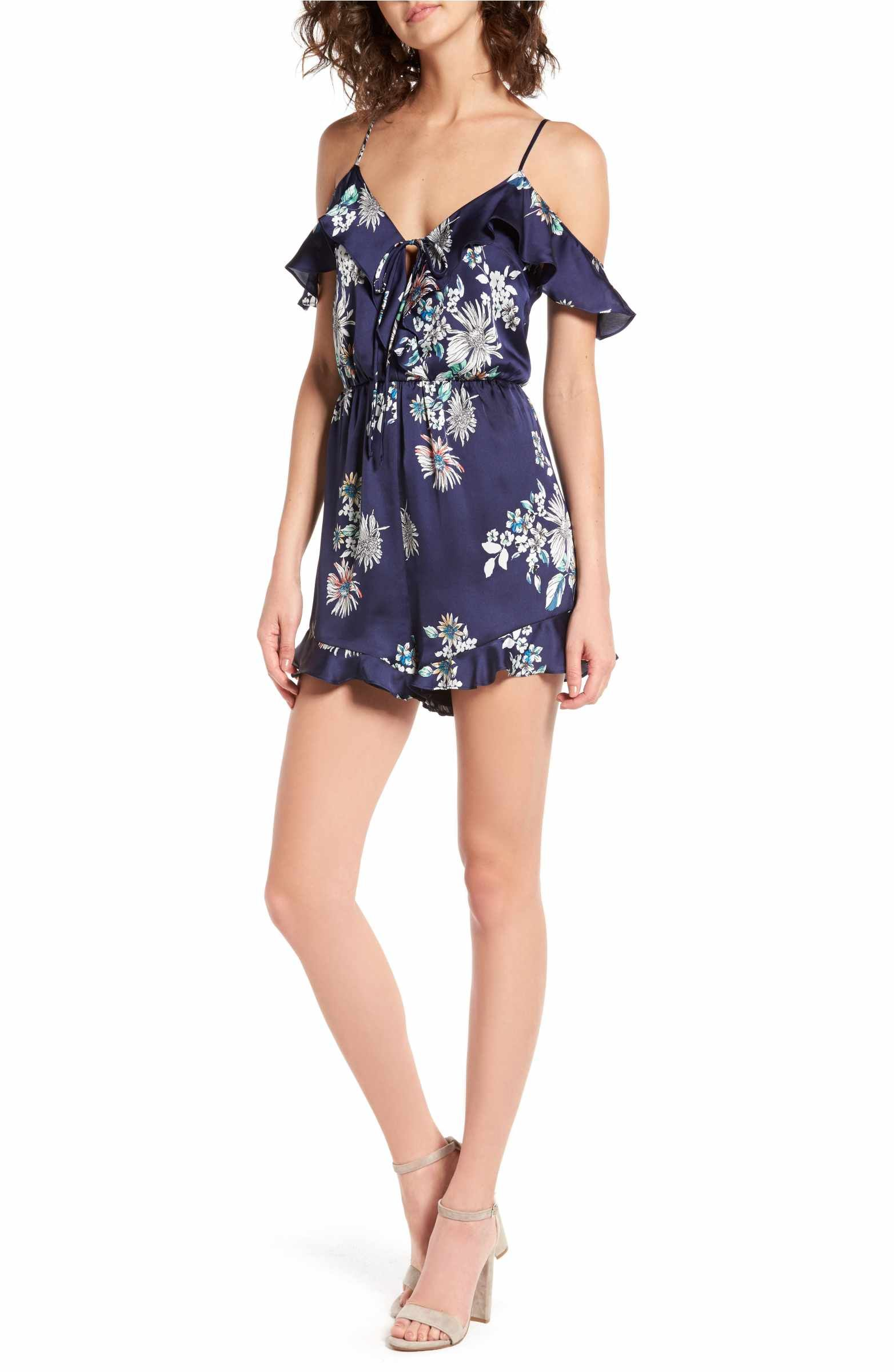 Main Image - Lush Ruffle Satin Cold Shoulder Romper