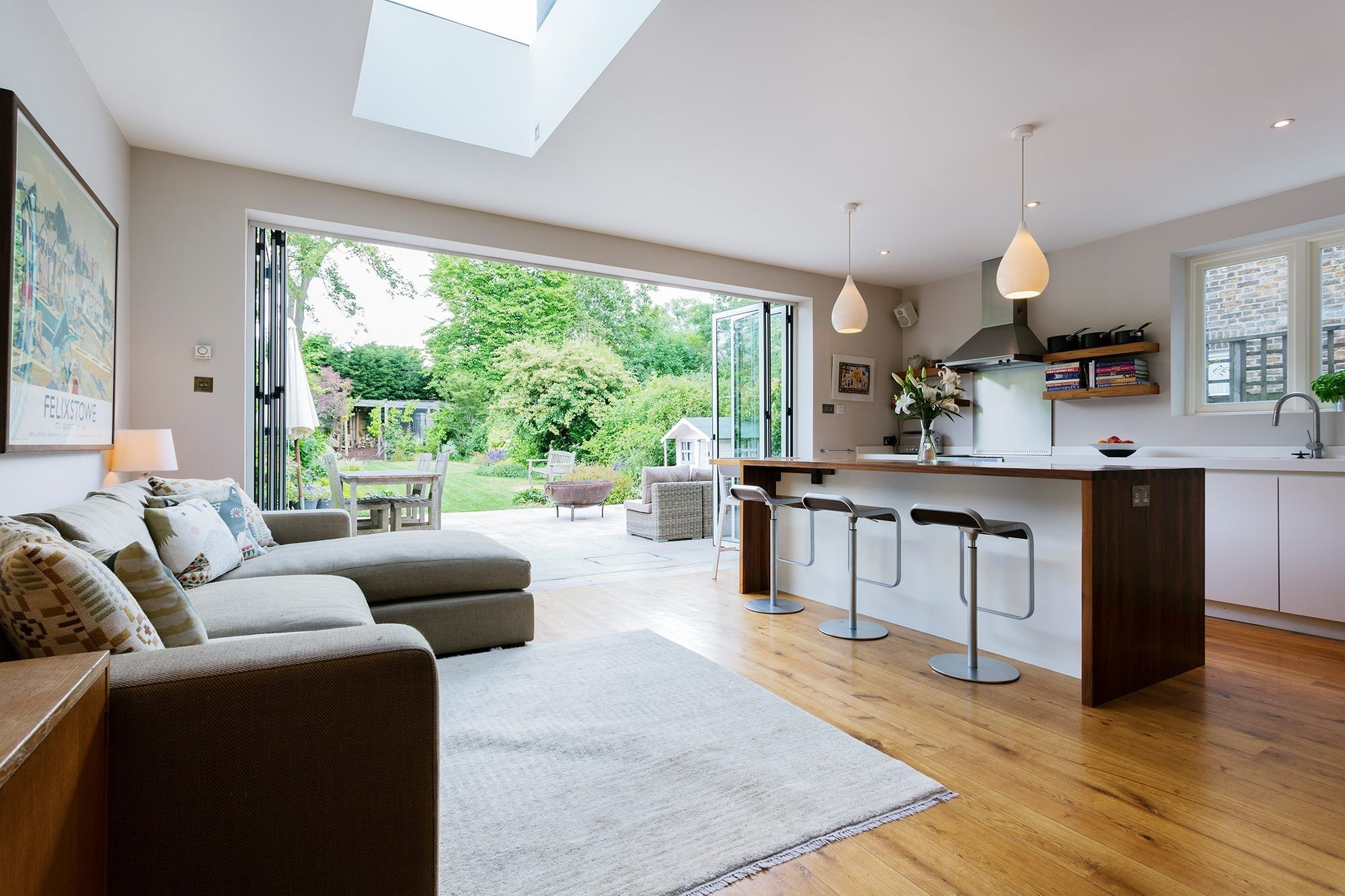 Kitchen extension ideas bi fold doors skylight kitchen island