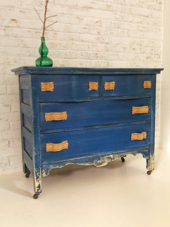 Worn Out Blue Jeans Dresser 1900 S Antique Wood Dresser On Caster Wheels 4 Drawers Vintage Blue By Eclectic How To Antique Wood Wood Dresser Recycled Furniture [ 3000 x 2250 Pixel ]