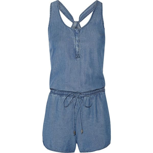 0e529b7efda Splendid Washed-denim playsuit (830 HKD) ❤ liked on Polyvore featuring  jumpsuits