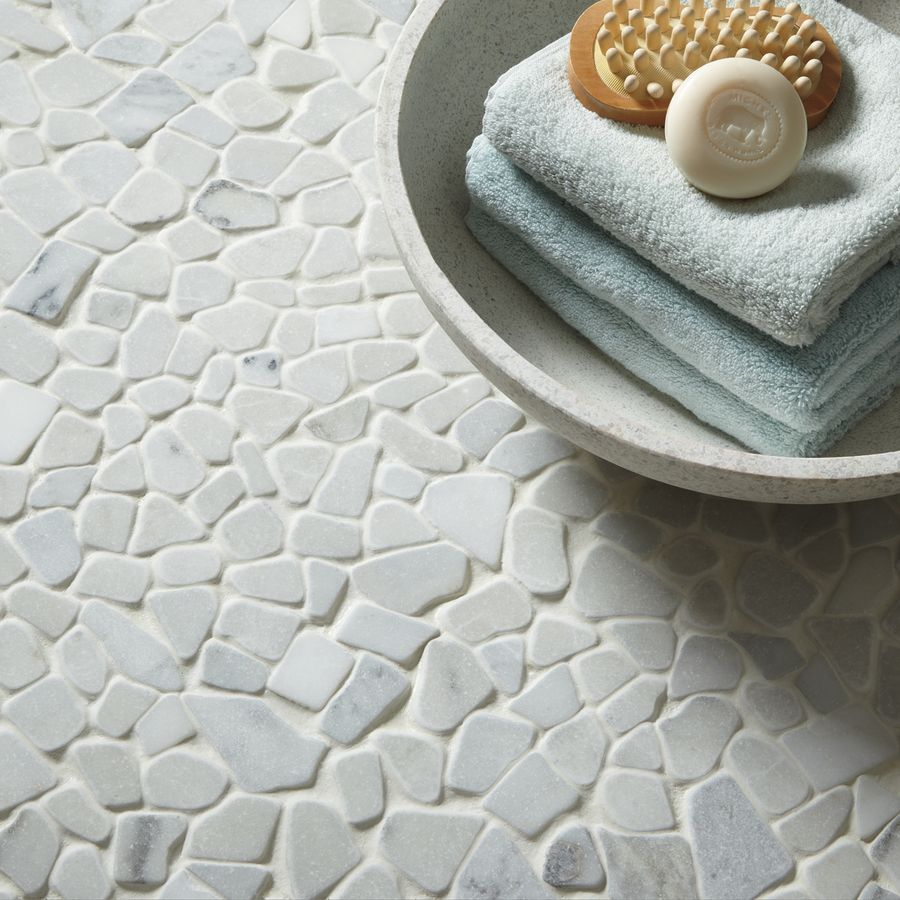 American Olean Genuine Stone Refined White Pebble Mosaic Marble ...