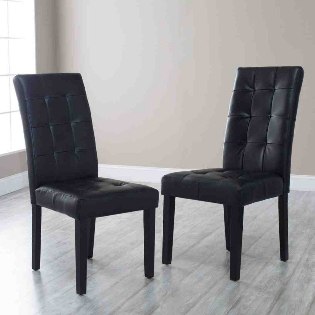 Black Tufted Dining Chairs  Leather dining room chairs, Leather