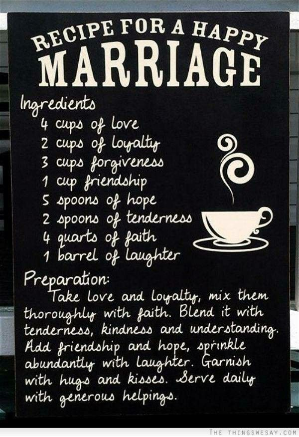 This is an image of Trust Recipe for a Happy Marriage Printable