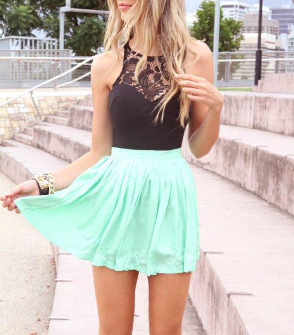 Dress: mint skirt lace top lace black shirt summer beautiful mint green aqua low-high floral t shirt
