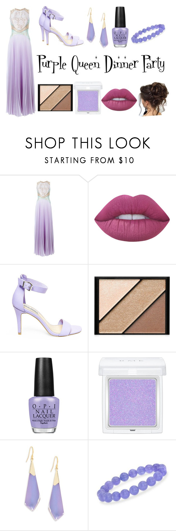 """Purple Queen Dinner Party"" by aalittles ❤ liked on Polyvore featuring Christopher Kane, Lime Crime, Steve Madden, Elizabeth Arden, OPI, RMK, Alexis Bittar and Ross-Simons"