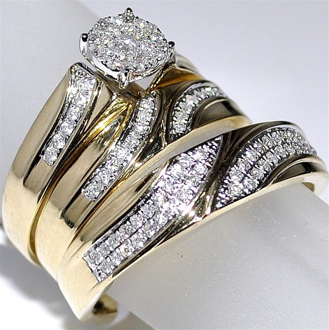 Ladies Sterling Silver White Gold Finish 3 Piece Bridal Wedding Ring Band Set
