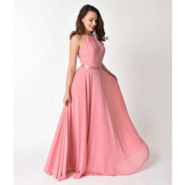 Narianna Rose Pink Halter Chiffon Sleeveless Long Formal Gown (155 ...