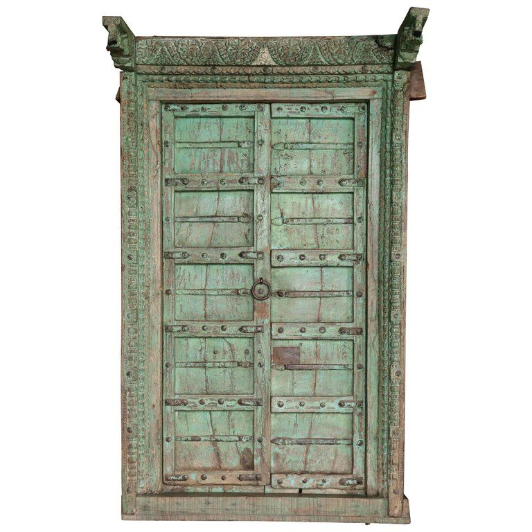 7 Entrance Gate Design Ideas For Indian Homes: 1810s Solid Teak Wood Painted Interior Door From A