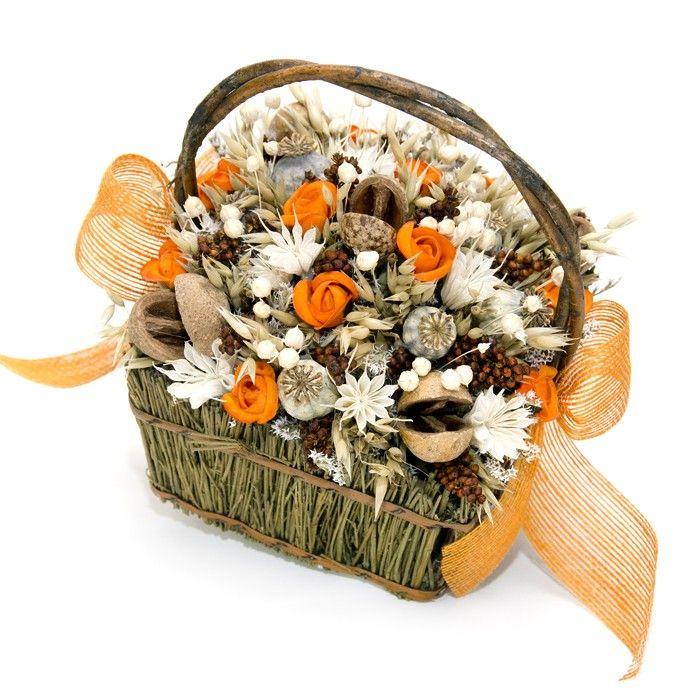 Cesta Campesina con Lino y Flores Secas,Cesta de flores secas del - flores secas