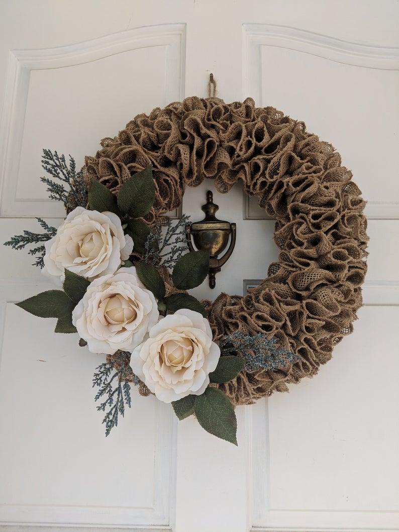 Ruffled Burlap Sailboat Wreath