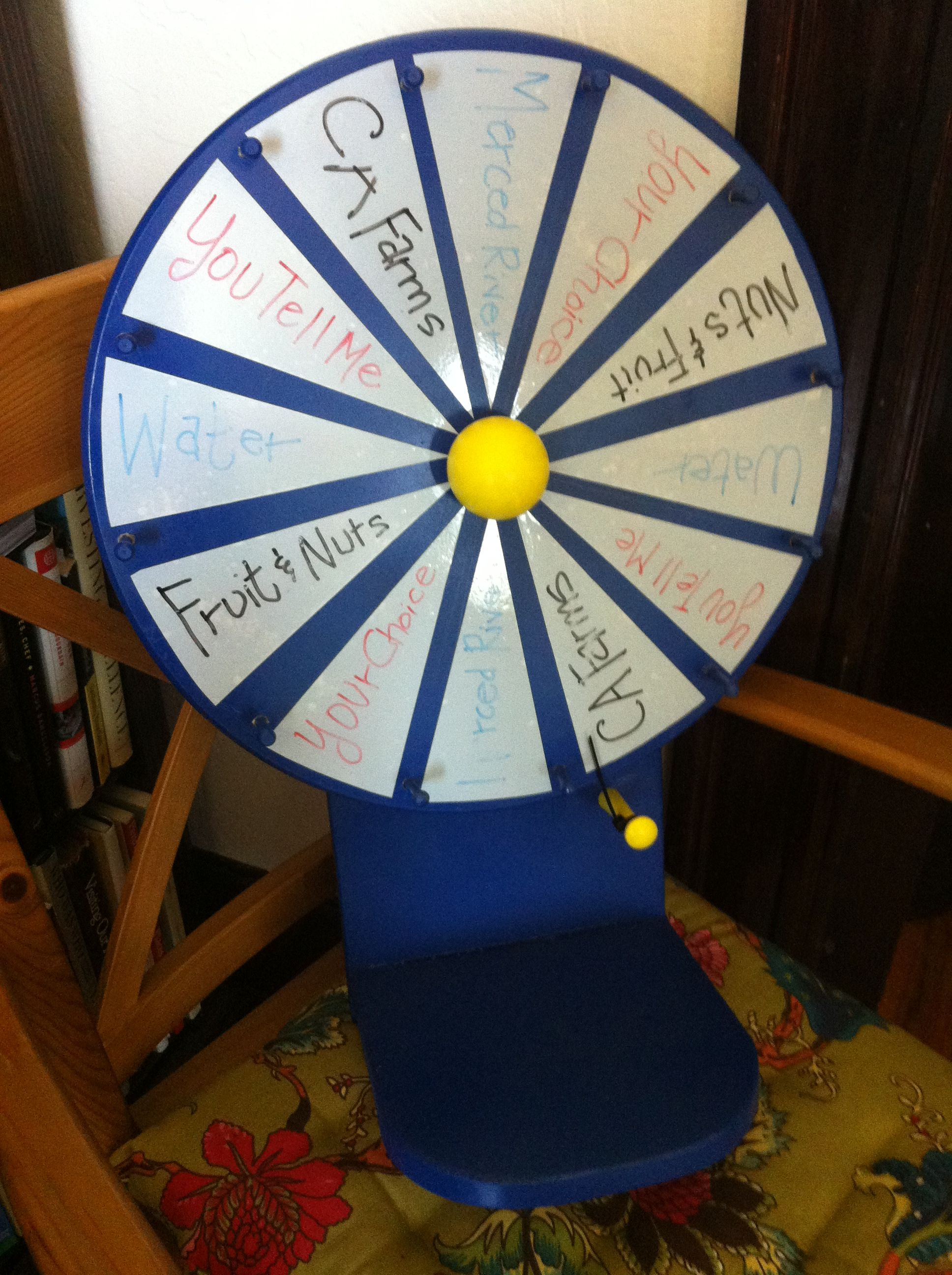 diy prize wheel i made for outreach events. triangle pie pieces are