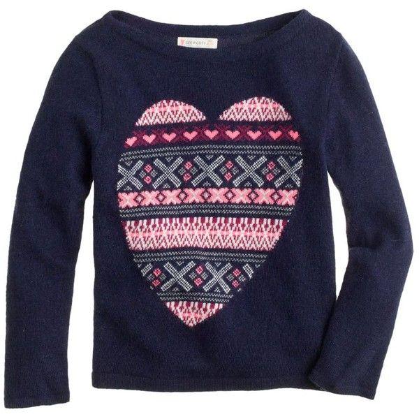 J.Crew Girls' Fair Isle heart sweater (666.765 IDR) ❤ liked on ...