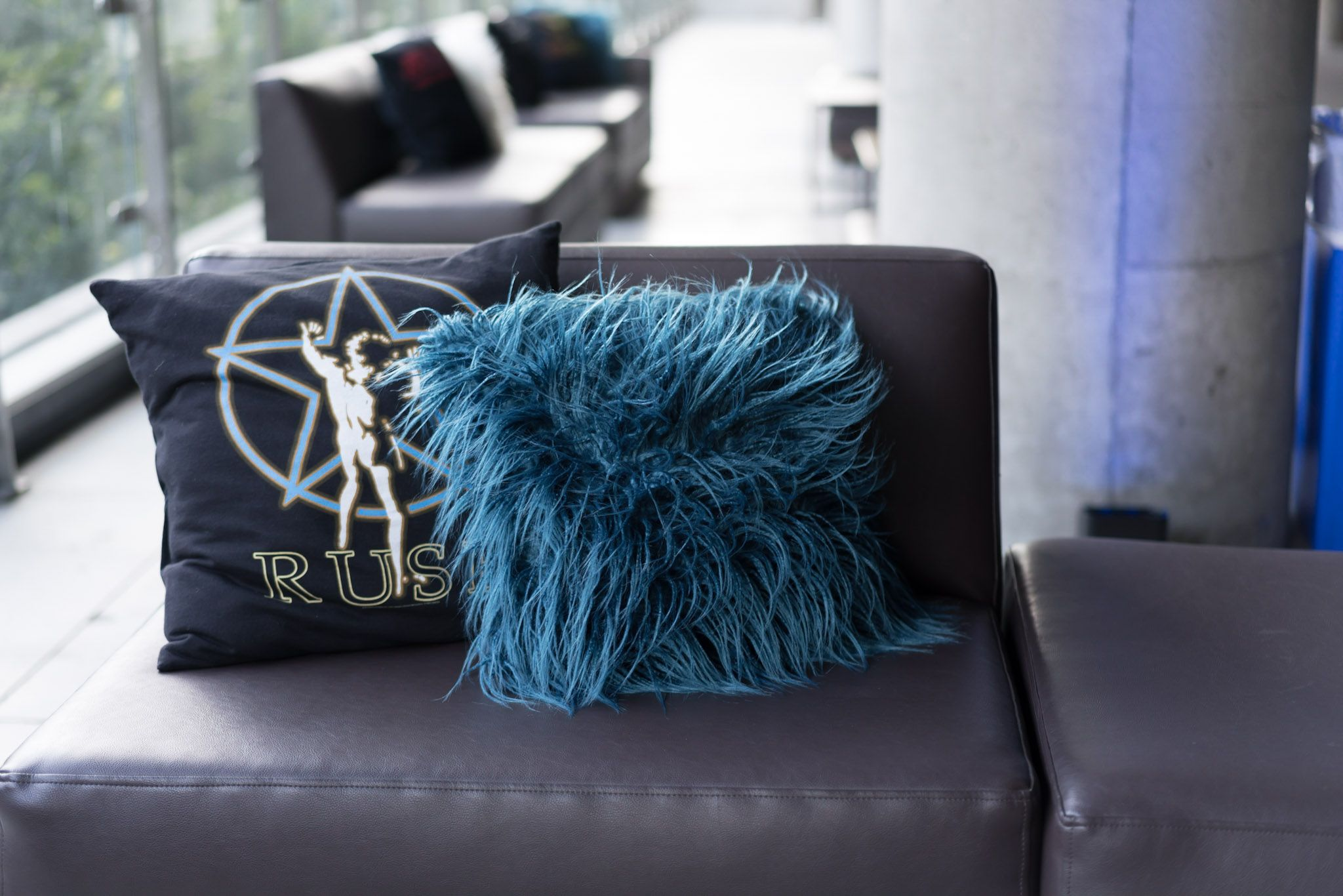Admirable Black Leather Couch Accented With Throw Pillows That Have Onthecornerstone Fun Painted Chair Ideas Images Onthecornerstoneorg