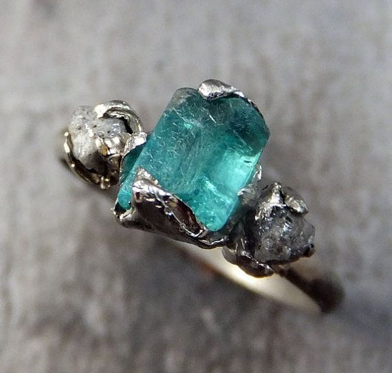 Raw Aqua Tourmaline Diamond 14k White Gold Engagement Ring Wedding One Of A Kind Gemstone Bespoke Three Stone Byangeline