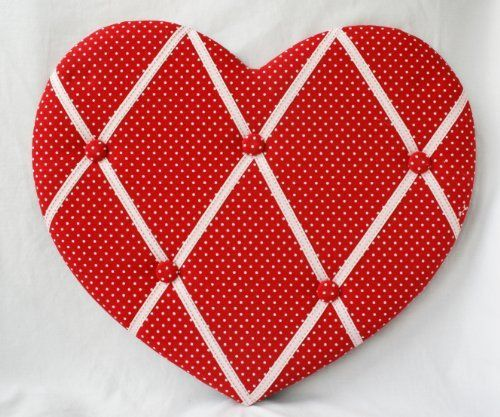 Fabric Notice  Pin  Memo Board Red Spot Heart Shaped Notice