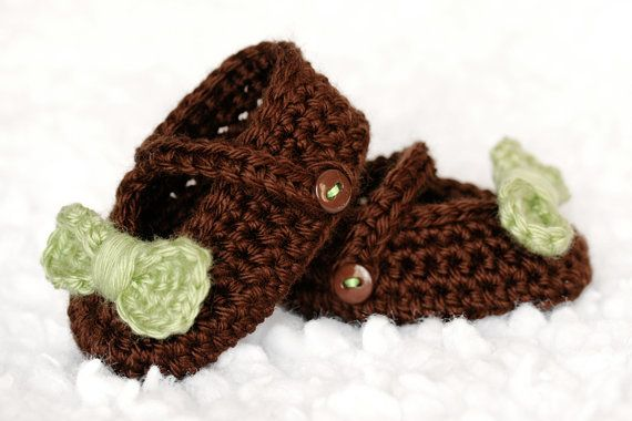 Green & Brown Crochet Baby Shoes w/ Button Strap & Bow by lauraanncrochet, $7.00