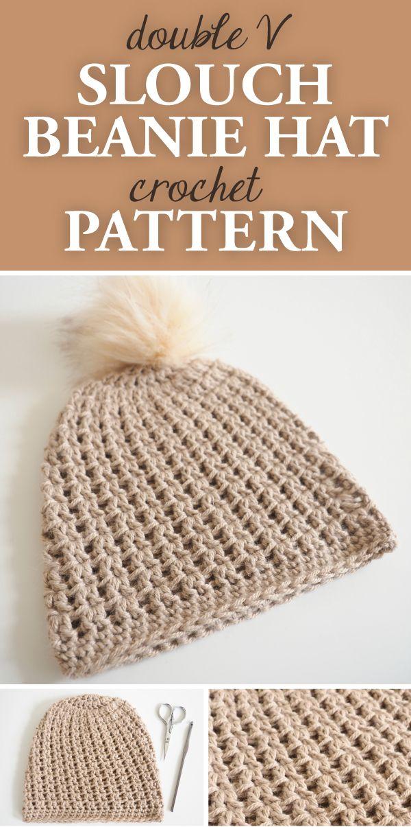 Double V Slouch Beanie Hat Crochet Pattern | crochet afghans ...
