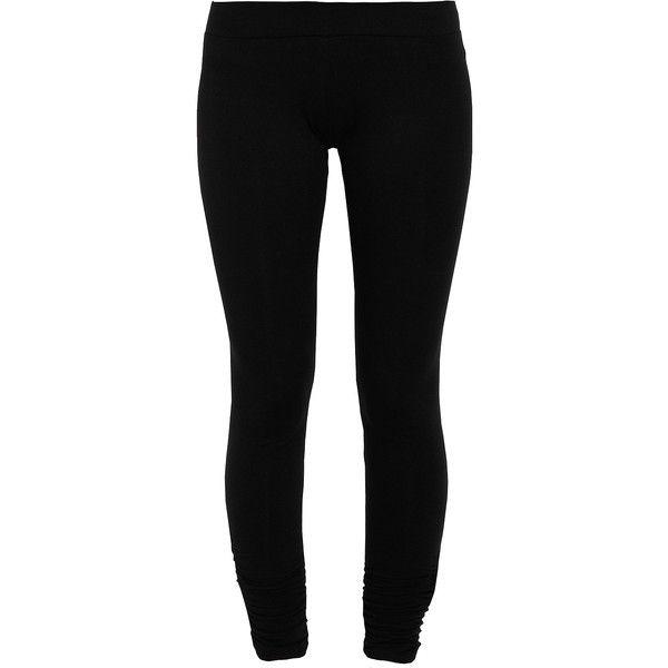 LNA Olivia Cotton Basic Leggings ($40) ❤ liked on Polyvore featuring pants, leggings, bottoms, jeans, black elastic waist pants, ruched pants, cotton trousers, black cotton leggings and cotton leggings
