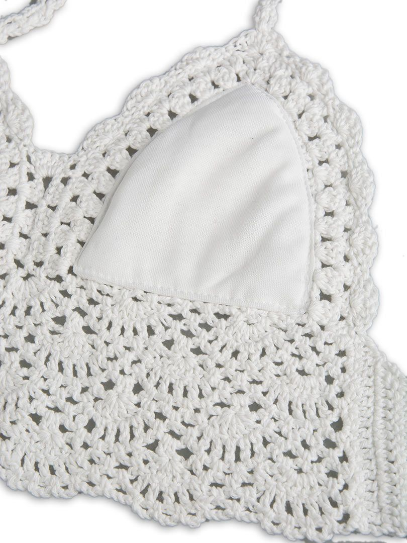 White Halter Crochet Bralet Top | Choies | Bikinis y Tops ...